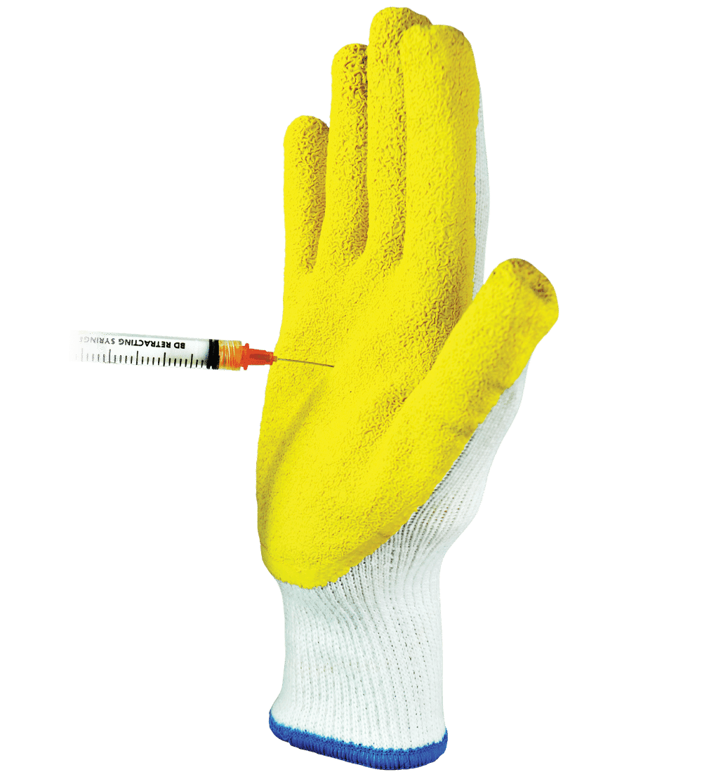 KOMODO Dragon Skin Needle Stick Resistant Gloves resisting a needle puncture on the palm