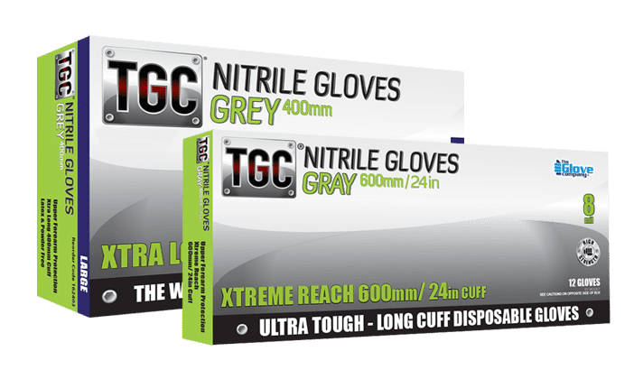 TGC Grey Nitrile Glove boxes 400mm and 600mm
